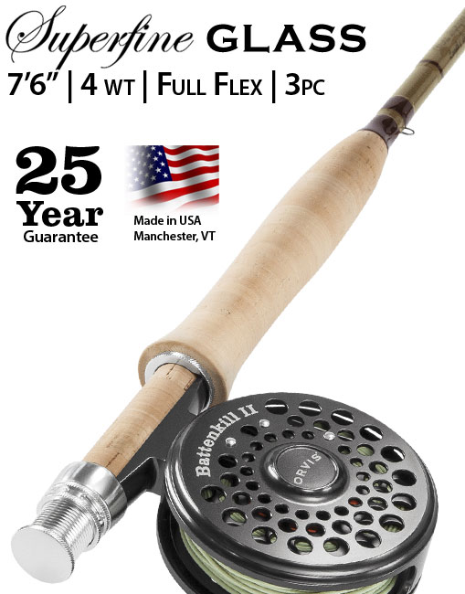 "Superfine Glass 7'6"" 4 weight Fly Rod Outfit"